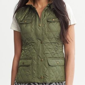 Banana Republic Army Green Quilted Vest